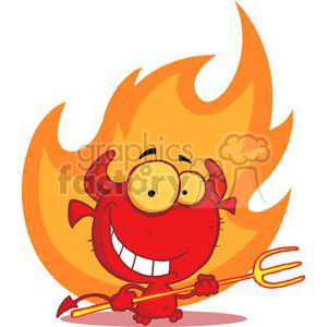 Flame clipart little. Happy devil holding a