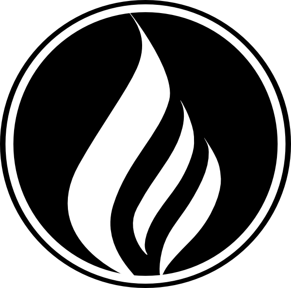 Flames clipart fire symbol. Black and white lg