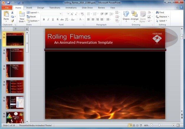 Flames clipart powerpoint. Template with animations