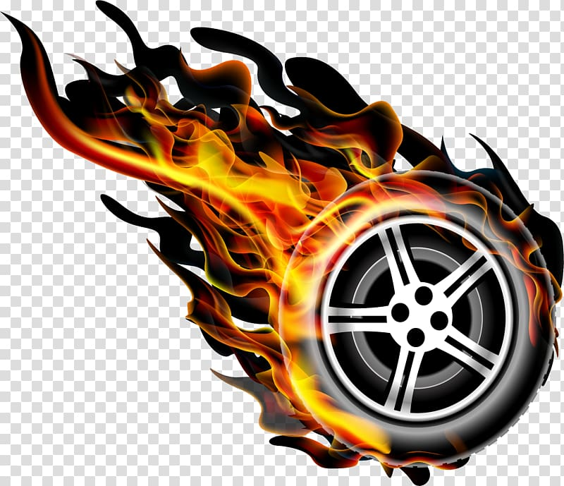 Burning wheel illustration flame. Flames clipart racing wheels