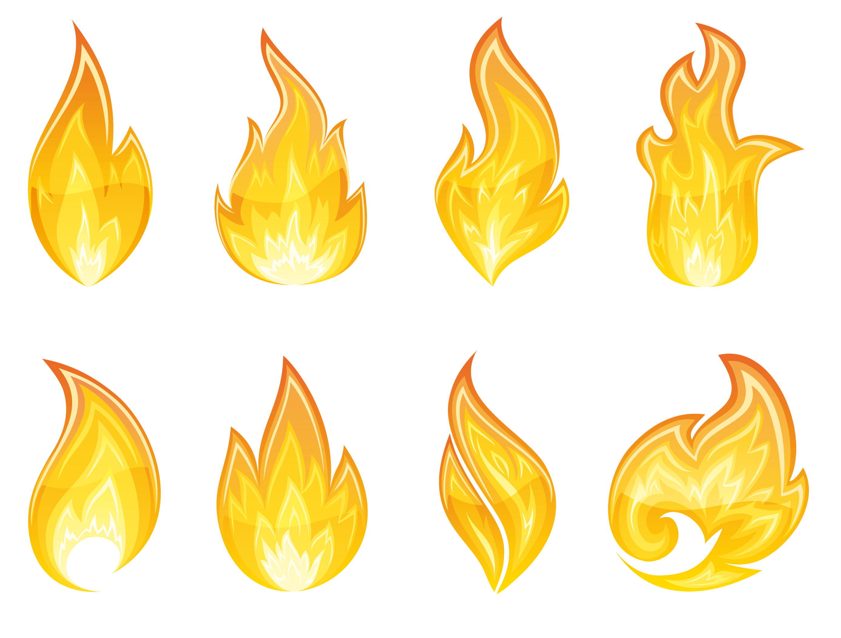 collection of fire. Flames clipart yellow flame