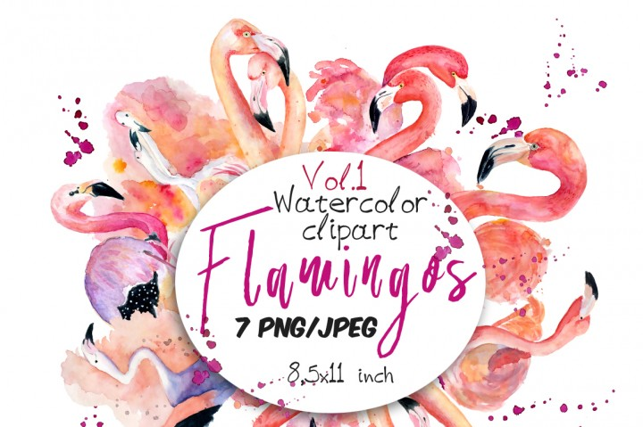 Watercolor tropical summer set. Flamingo clipart