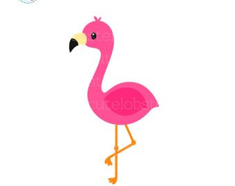 Flamingo clipart. Etsy single cute clip