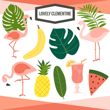 Tropical clip art and. Pineapple clipart flamingo