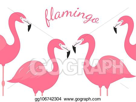 Vector stock of pink. Flamingo clipart group