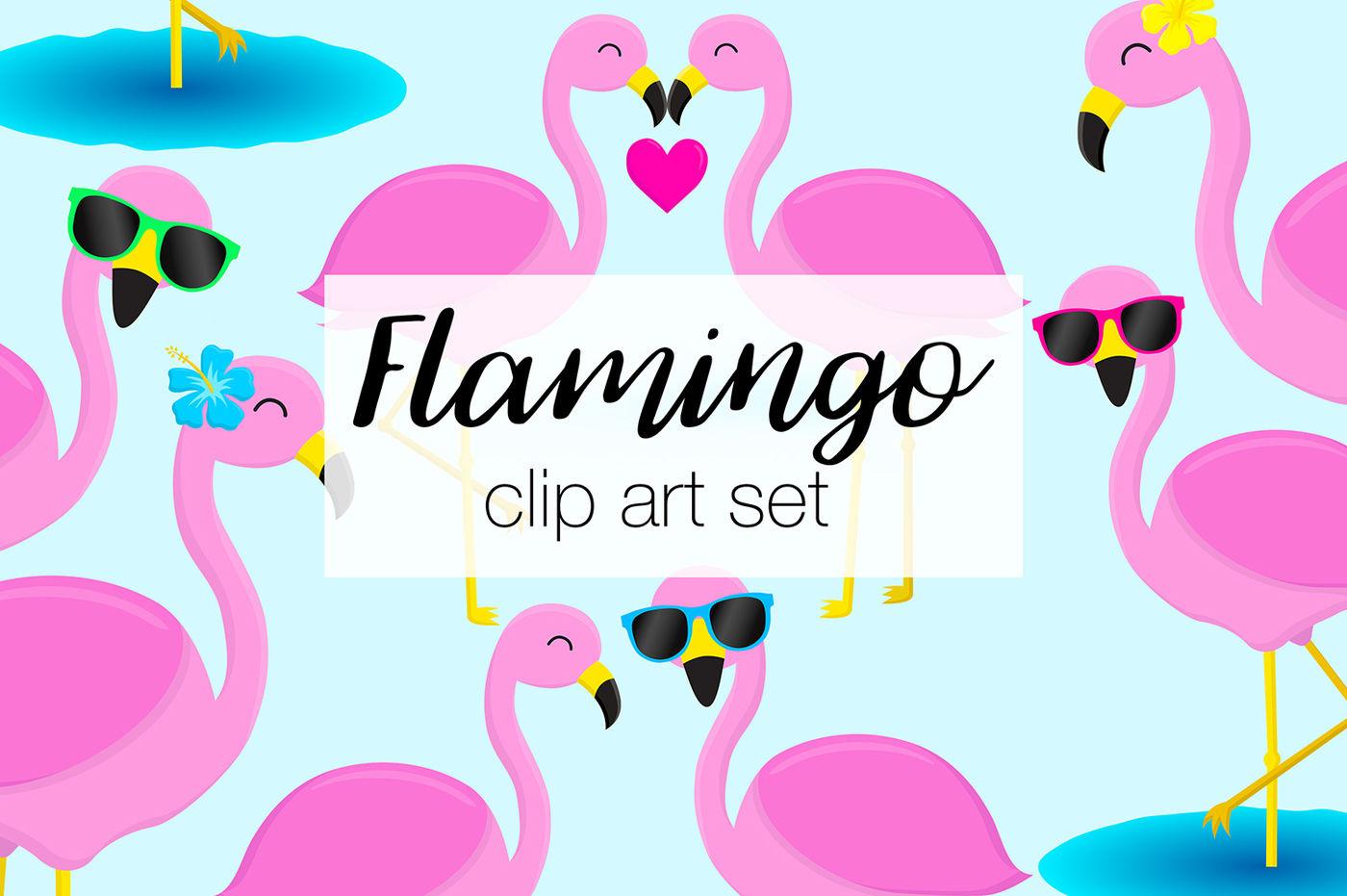 Set by doodle art. Flamingo clipart group