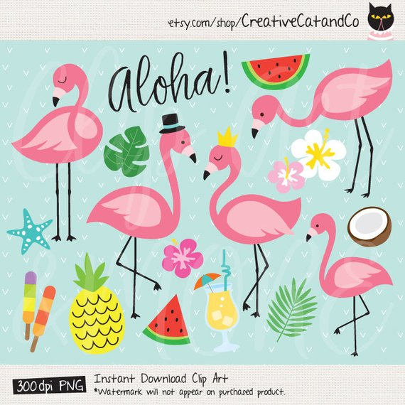 Cute clip art tropical. Hawaiian clipart flamingo