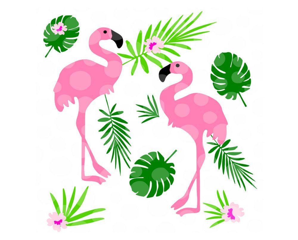 Tropical svg png leaves. Flamingo clipart pdf