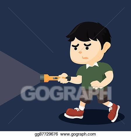 Flashlight clipart dark clipart. Vector illustration boy walking