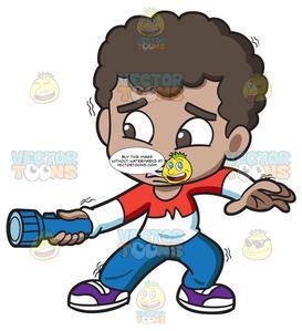 A scared black boy. Flashlight clipart dark clipart
