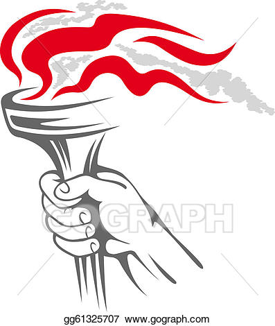 Vector art flaming in. Torch clipart hand holding torch