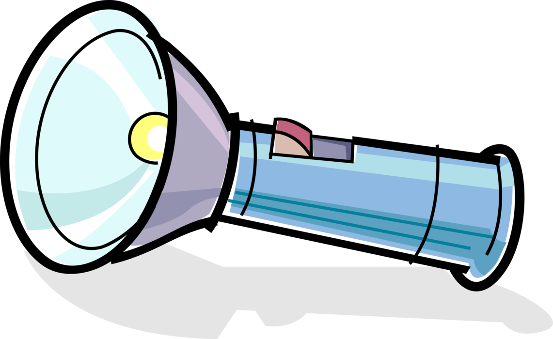 Portable or vector image. Flashlight clipart torch light