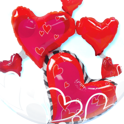 Floating hearts png. Double bubble balloon free