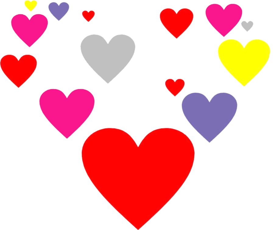 Floating hearts png. Of color by mike