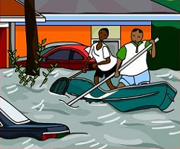 Free canoeing on flooded. Flood clipart