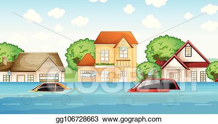 Flood clipart flood disaster. Vector a scene illustration