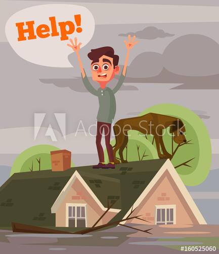 Flood clipart flood disaster. Sad unhappy man and