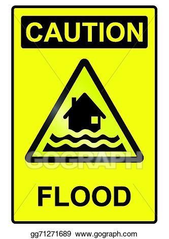 Flood clipart flood sign. Vector stock hazard illustration