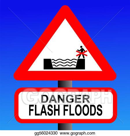 Flood clipart flood sign. Stock illustration risk of