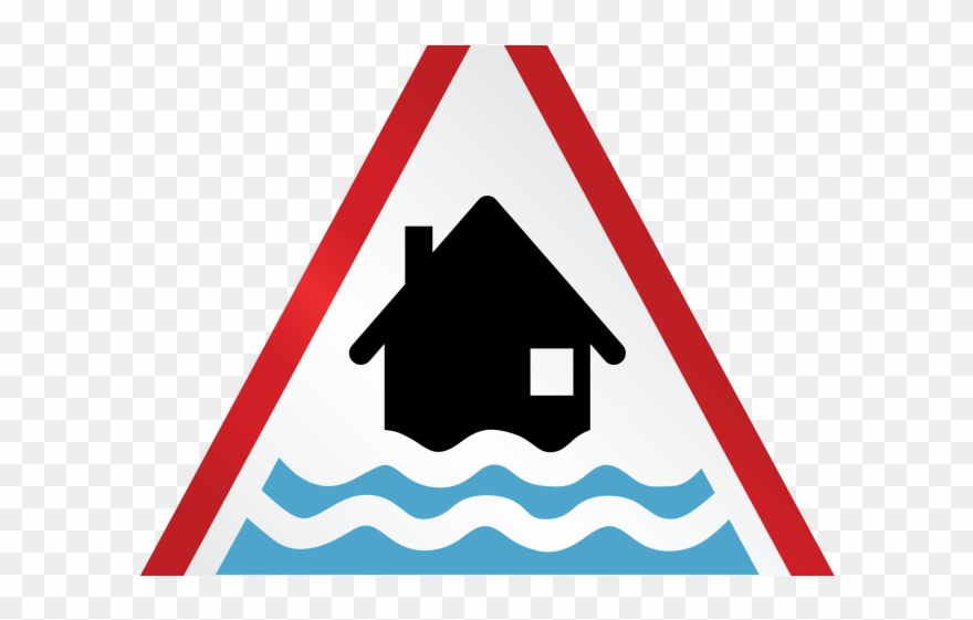 Flood clipart flooded area. Water damage warning sign