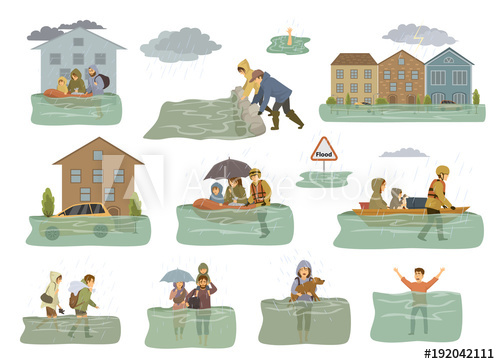 Flood clipart flooded car. Infographic elements houses city