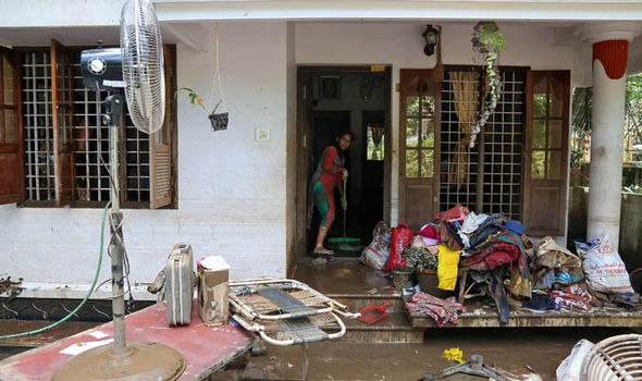 Kerala in pictures latest. Flood clipart flooded room
