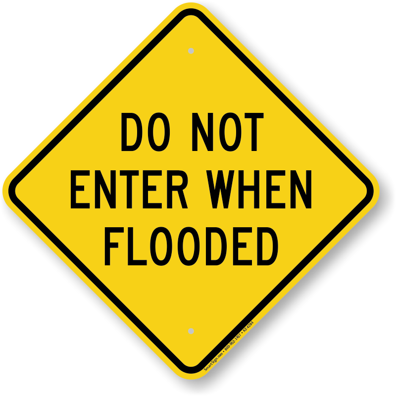 Warning signs road signage. Flood clipart flooded street