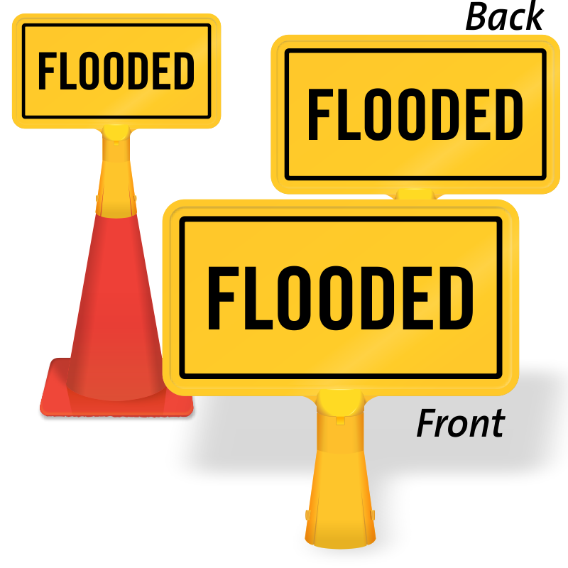 Flood clipart flooded street. Warning signs road signage