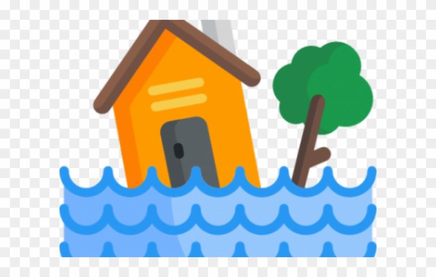 Flooded transparent inundacion icono. Flood clipart house florida