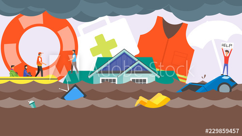 Disaster concept water flooding. Flood clipart rescue boat