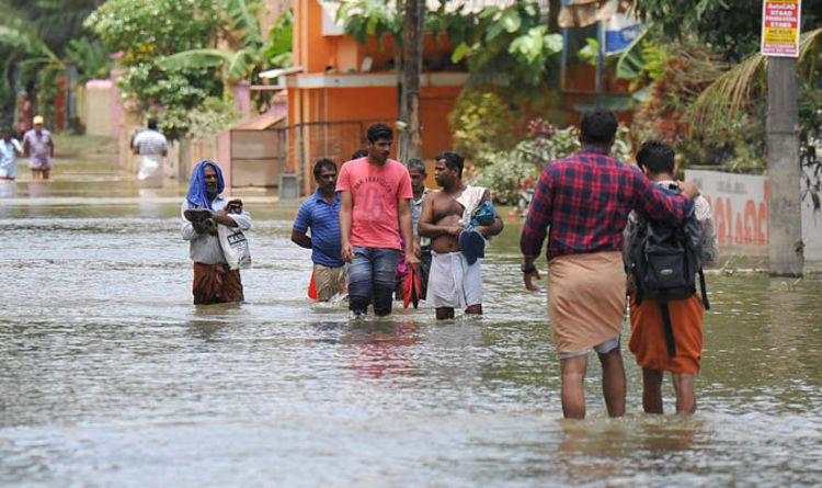 Kerala in pictures latest. Flood clipart stranded