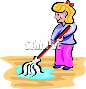Girl mopping a royalty. Floor clipart