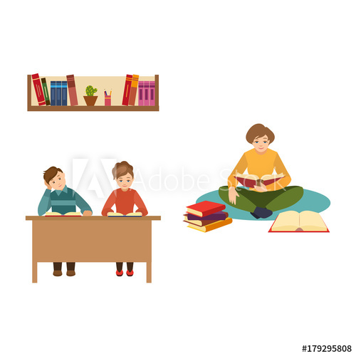 Vector flat people reading. Floor clipart book share