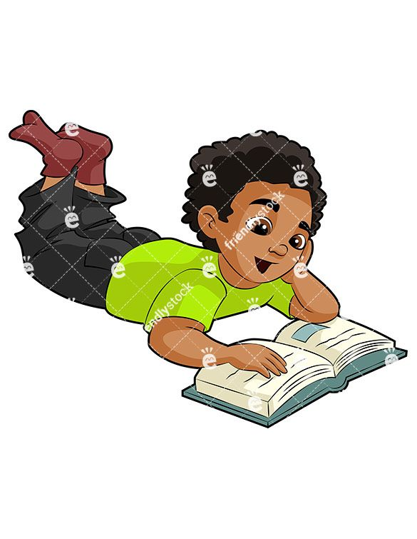A young black boy. Floor clipart book share