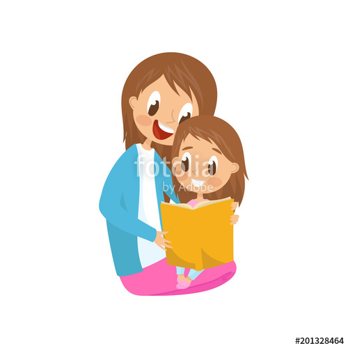 Floor clipart book share. Mother and daughter sitting