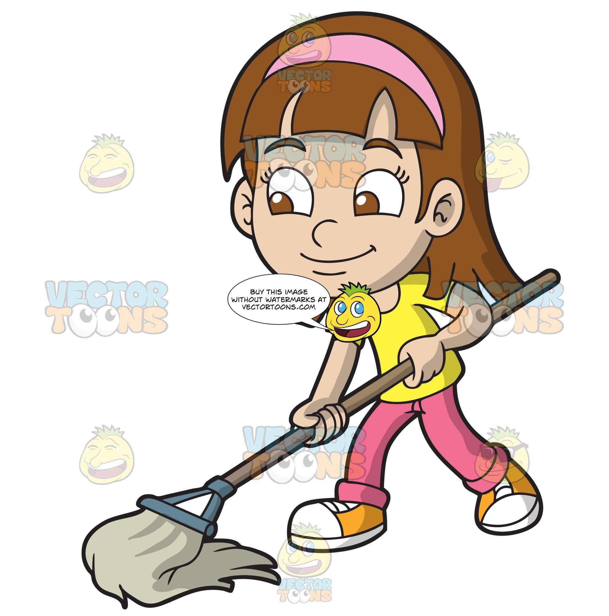 A girl mopping the. Floor clipart cartoon