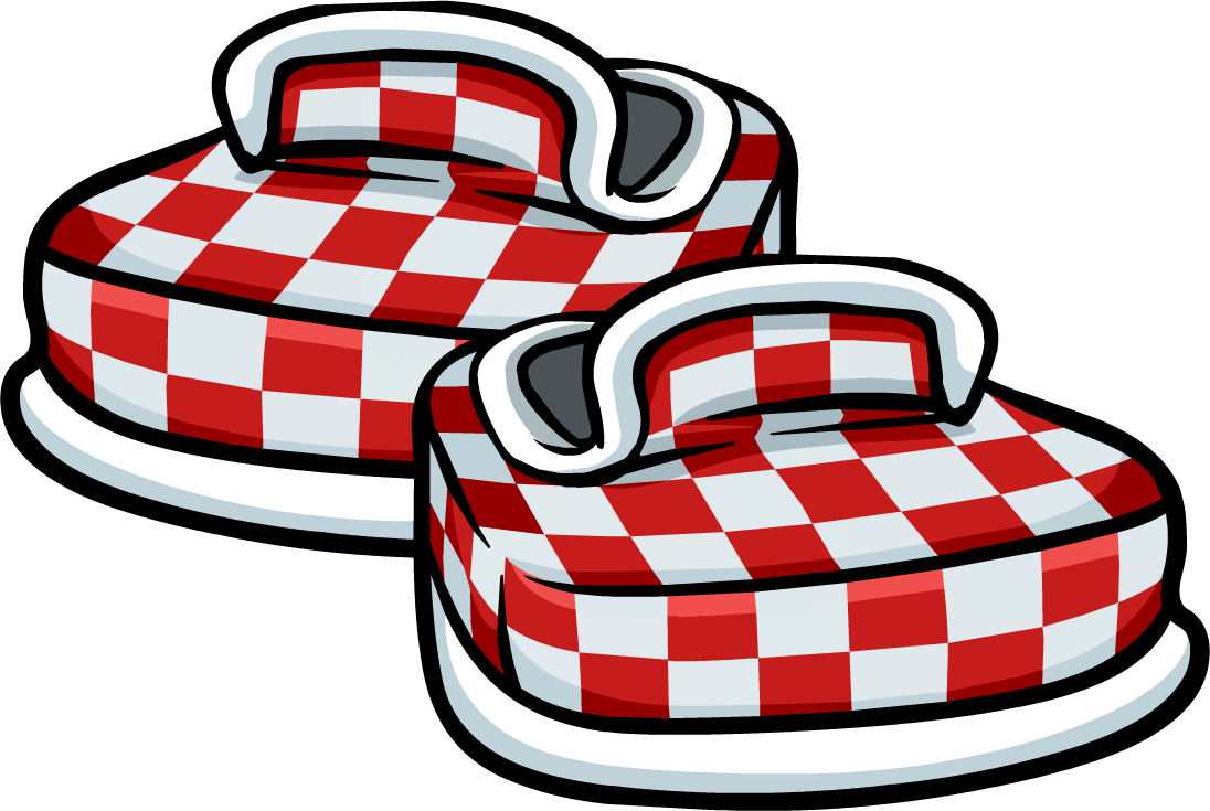 Red checkered shoes club. Floor clipart chekered