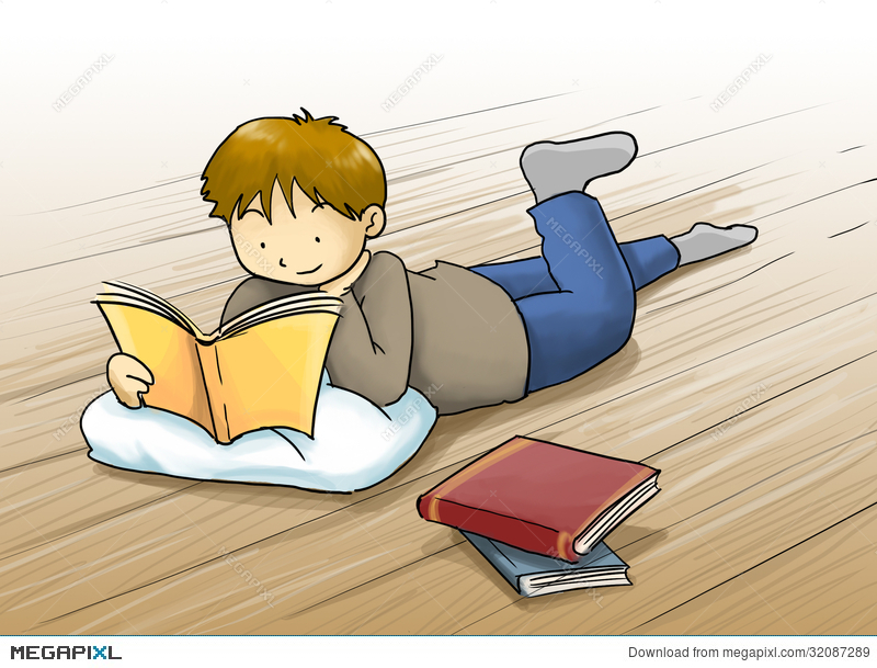 Floor clipart child read. Kid reading a book