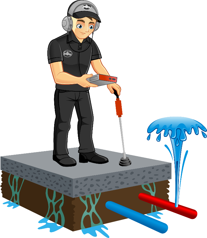 Plumber clipart leaky pipe. Slab leak detection repair