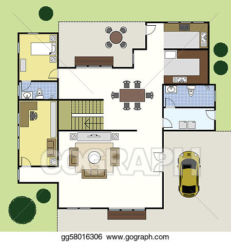 Vector floorplan architecture plan. Planning clipart blueprint