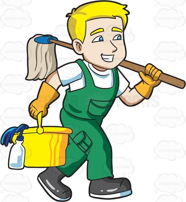 A on his way. Maid clipart janitor