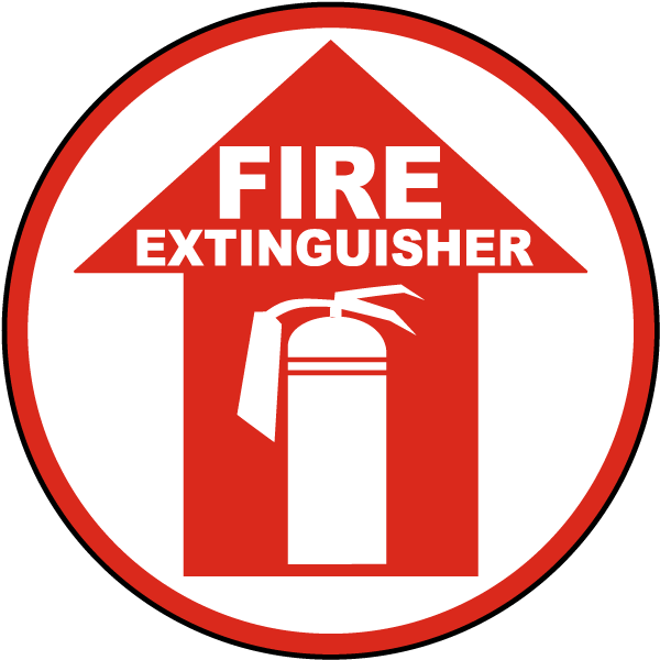 Fire extinguisher sign by. Floor clipart stage floor