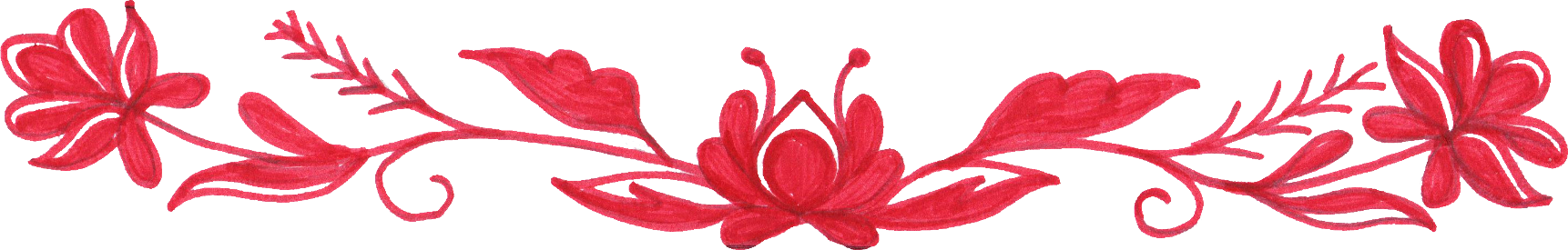Floral border png.  red flower drawing