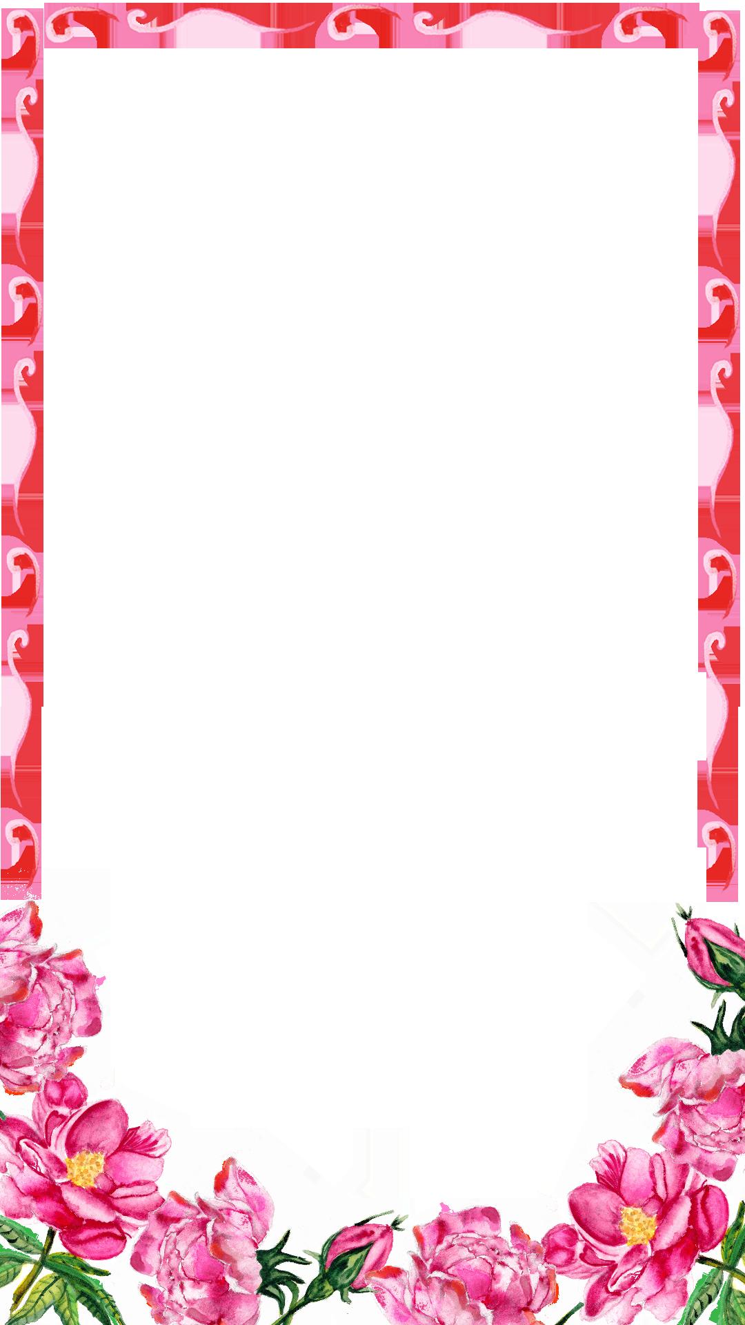 Pink transparent image arts. Floral border png