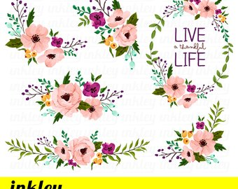 Floral clipart. Etsy pink flower clip