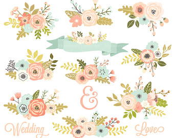 Floral clipart. Etsy wedding flowers posies