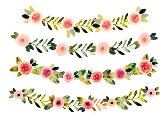 Watercolor flowers vintage . Floral clipart