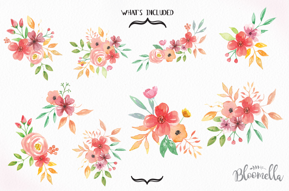 Floral clipart. Sunset blooms flower bouquets