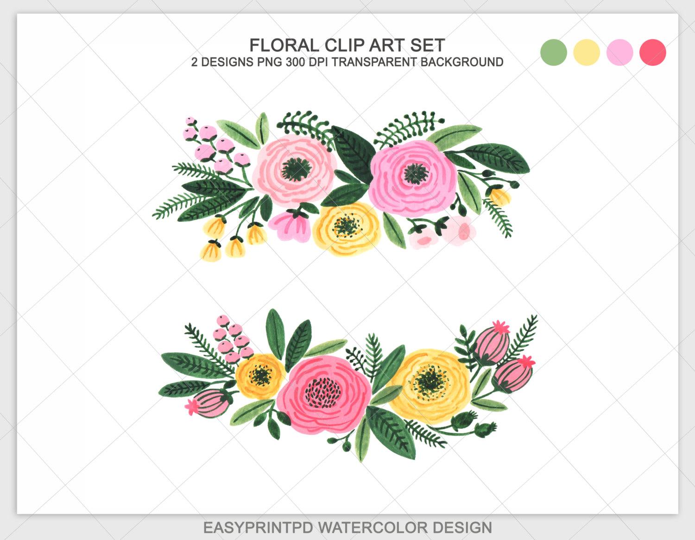 Floral clipart. Watercolor flowers clip