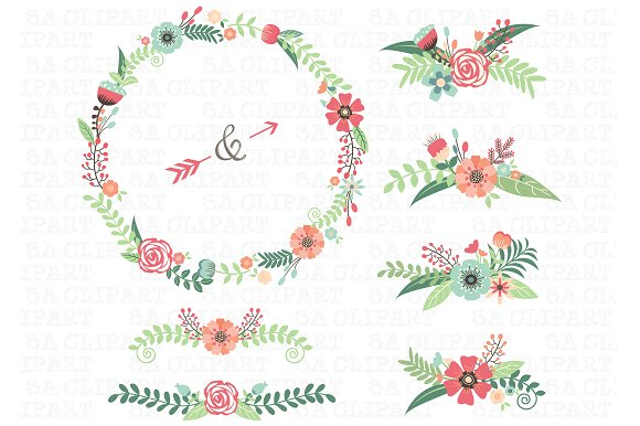 Wedding illustrations creative market. Floral clipart